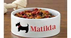 Personalised Dog Bowl - Scottie Dog Design This ceramic dog bowl is ideal for your dog. Featuring a mini graphic of a Scottie dog, it can also be personalised up to 14 characters in length. Location: http://www.comparestoreprices.co.uk/gift-ideas/personalised-dog-bowl--scottie-dog-design.asp