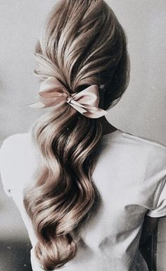 a06e098f long blonde balayage hair curls into a pink ribbon tie | best bridal shower  hair ideas · Simple Wedding HairstylesPretty ...