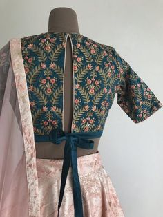 The Knotted Glow Garden Blouse – The Peach Project by Ayesha Choli Designs, Lehenga Designs, Fancy Blouse Designs, Sari Blouse Designs, Blouse Styles, Traditional Blouse Designs, Saree Blouse Patterns, Sari Bluse, Designer Blouse Patterns