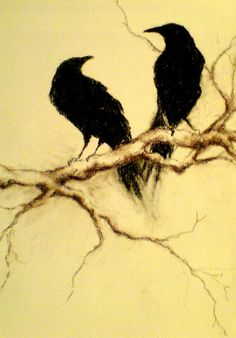 Paintings of Crows and Ravens | Two Crows - Original Charcoal Drawing By Contemporary Abstract Artist ...