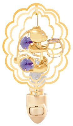 Bear Holding A Honey Jar inside a Scalloped Oval in 24K Gold Plated Night Light With Purple Color Swarovski Austrian Crystals ** To view further for this item, visit the image link.-It is an affiliate link to Amazon. #NurseryNightLights