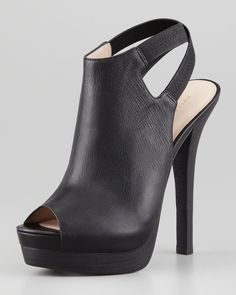 Crissy Slingback Leather Platform Bootie, Black by Pelle Moda at Neiman Marcus. Hot Shoes, Crazy Shoes, Me Too Shoes, Shoes Heels, Bootie Heels, Dream Shoes, Pretty Shoes, Beautiful Shoes, Mode Rock