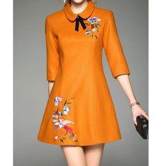 Dresses,Mini Dresses,Mustard Peter Pan Collar Half Sleeve Embroidered A-line Mini Dress,Qeexi,Mustard Simple Dresses, Pretty Dresses, Beautiful Dresses, Casual Dresses, Short Dresses, Fashion Dresses, Mini Dresses, Woolen Dresses, Embroidery Dress