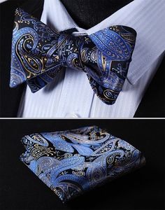 Blue Black Gold Paisley Bow Tie with Square.jpg