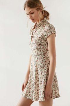 Kimchi Blue Rosebud Button-Down Floral Ivory Dress