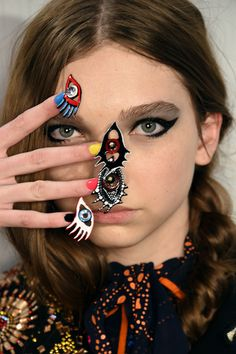 Talk about keeping your eyes on the prize! This was the visionary (pun intended) #nail look at Libertine Fall 2016  #nyfw