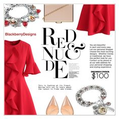 """""""Red & Nude"""" by shambala-379 ❤ liked on Polyvore featuring Chicwish, Christian Louboutin and Dorothy Perkins"""