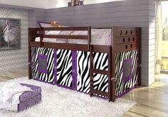 Loftbed with Purple Zebra Tent