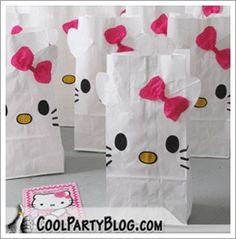 party ideas Hello Kitty treat bags.  I am going to make a Halloween version of these for Alexis' birthday party!