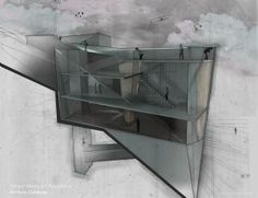 KRob Architecture Competition - Architectural illustration, delineation and drawing competition. Architects and architecture students submit architectural sketches for architecture competition. Revit Architecture, Architecture Drawings, Architecture Graphics, Interior Architecture, Layout Design, Architectural Section, Architectural Presentation, Architectural Sketches, Present Drawing