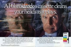 """""""A Polaroid cassette cleans your heads as it plays."""" / """"There's nothing worse than watching one of your favorite comedy programs turning into a nightmare"""" / """"Get the picture. With Polaroid cassettes."""""""