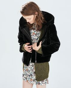 Image 2 of JACKET WITH FUR HOOD from Zara