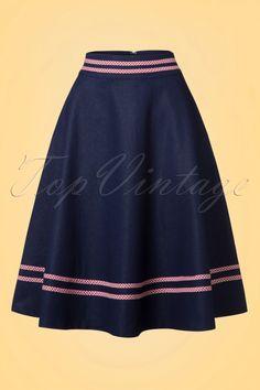 Dancing Days by Banned Denim Skirt dark denim blue 1950s swing rok donker blauw jeans spijkerstof