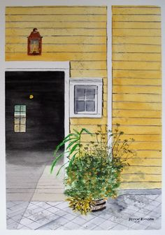 "A cheery yellow home with a Williamsburg lantern ""Well Lit"" is an inspiring work by artist Peter Kundra Digital Art Gallery, Watercolor Art, Lanterns, Yellow, Outdoor Decor, Artist, Inspiration, Biblical Inspiration, Watercolor Painting"
