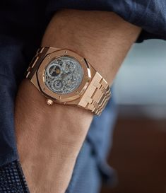 It's been 45 years since the creation of the original Audemars Piguet Royal Oak and this now classic piece, is more popular than ever. First unveiled by Audemars Piguet in the and designed by Ge Audemars Piguet Gold, Audemars Piguet Watches, Sport Watches, Cool Watches, Rolex Watches, Dream Watches, Patek Philippe, Richard Mille, Gentleman