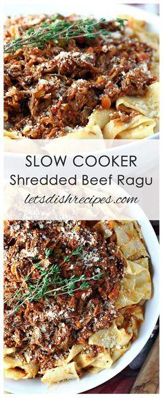 Slow Cooker Shredded Beef Ragu Recipe: Beef roast is slow cooked with vegetables. - Slow Cooker Shredded Beef Ragu Recipe: Beef roast is slow cooked with vegetables in tomato sauce an - Beef Ragu Slow Cooker, Slow Cooker Shredded Beef, Shredded Beef Recipes, Crockpot Beef Roast Recipes, Recipes Using Beef Broth, Slow Cooked Beef, Meatloaf Recipes, Crockpot Meals, Healthy Crockpot Recipes