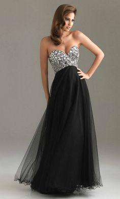 Vestidos Strapless de Noche - Color Negro - Vestidos Mania