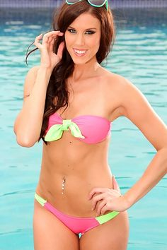 Pink Lime Two Tone Pucker Back Swimsuit