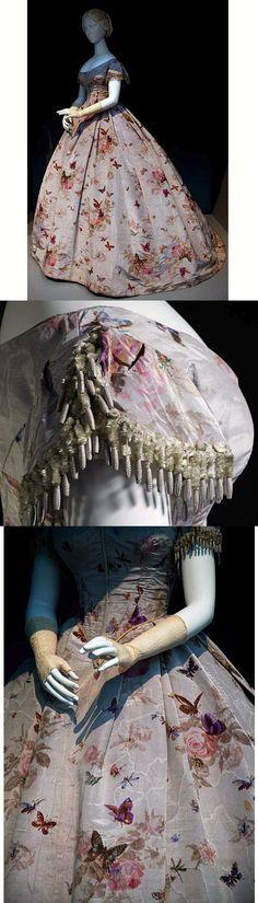 "blackcupcakekitty: ""Beautiful French evening dress c.1865. I love the Butterflies !! """