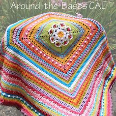Around-the-Bases, free pattern by ChiChi Allen. Photo shows half-completed blanket. **CAL started 8/9/15, with a new set of rounds released every Sunday for 16 consecutive weeks.** Square mixed-stitch blanket with center square of your choice (number of stitches per side multiple of 6 minus 2). On Ravelry here: http://www.ravelry.com/patterns/library/around-the-bases . . . . ღTrish W ~ http://www.pinterest.com/trishw/  . . . . #crochet #afghan #throw
