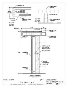 commercial bar counter construction autoCAD section drawing - Google Search