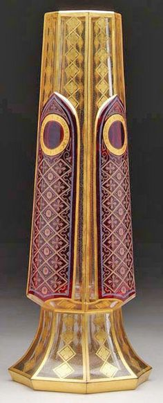 Moser Glass; Vase, Cut Overlay, Clear to Ruby, Cathedral Panels, 14 inch.