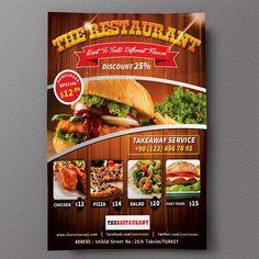 Restaurant Flyer 01 by fatihakdemir on Creative Market - Menu Card Design, Food Menu Design, Food Poster Design, Flyer Design, Brochure Food, Brochure Design, Brochure Ideas, Restaurant Branding, Restaurant Recipes
