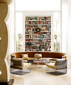 desire to inspire - desiretoinspire.net - MaliAzima Home Interior, Interior Architecture, Bathroom Interior, Console Design, Curved Sofa, Circular Couch, Round Sofa, Home Libraries, Piece A Vivre