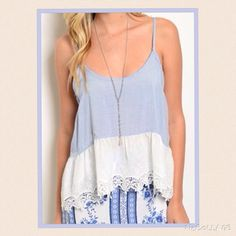 COMING SOON! Lace Hem Sky Blue Top Spaghetti strap top features a round neckline, trapeze fit, eyelet trim and a scalloped lace hem. 100% Cotton Tops Blouses