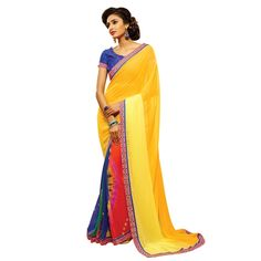 Buy Multicolor Silk Georgette & Chiffon With Print & Lace Work Designer Saree Online at cheap prices from Shopkio.com: India`s best online shoping site