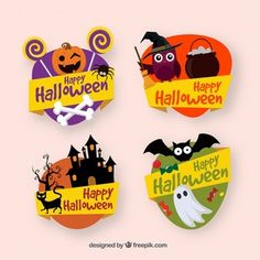 More than a million free vectors, PSD, photos and free icons. Exclusive freebies and all graphic resources that you need for your projects Chic Halloween, Halloween Labels, Halloween Crafts For Kids, Halloween Design, Halloween Christmas, Halloween Cards, Scary Halloween, Halloween Themes, Happy Halloween