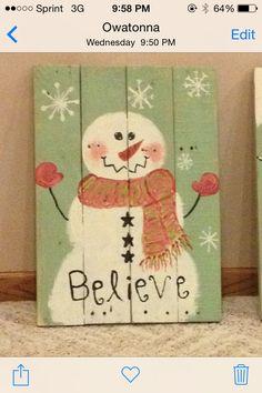 "Pallet snowman ""Believe"" by lola Pallet Christmas, Christmas Signs, Christmas Snowman, Christmas Projects, Winter Christmas, Christmas Decorations, Christmas Ornaments, Pallet Crafts, Diy Crafts"