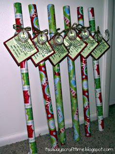 cute--I received this gift from a student this year! Absolutely most practical gift ever! I then turned around and did the same gift for my sons teachers! They loved it! Cute neighbor gift idea! Its wrapping paper tape, and the tag reads Since November youve been shopping, barely sleeping, hardly stopping. Now its late, youre in a scrape, out of paper or out of tape. Hope this wrap helps save the day! Have a Happy Holiday!
