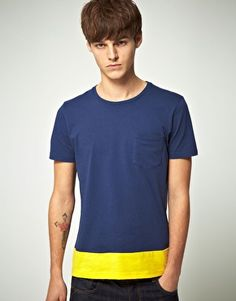 Fancy - ASOS | ASOS T Shirt With Colour Panel And Pocket at ASOS
