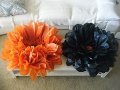 Flower tissue decoration I bought the tissue paper: http://www.orientaltrading.com/orange-tissue-paper-sheets-a2-48_7367-12-1.fltr?Ntt=tissue%20paper