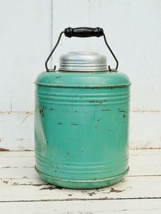 Green Metal Water Jug Cooler Thermos Ceramic Stoneware Liner Mint Green Chippy Shabby Farmhouse Camping Picnic 1930's on Etsy, Sold