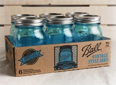 Ball Heritage Collection Blue Mason Jars 6 Ct