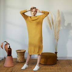 The Agate Sweater Dress Made Clothing, Custom Embroidery, Sustainable Design, Summer Collection, Rib Knit, Knitwear, Product Launch, High Neck Dress, Knitting