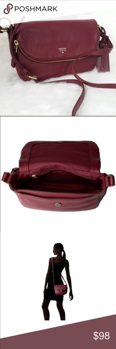 "Fossil Gwen Flap Crossbody Leather handbag *Gwen Flap Crossbody Leather handbag* Maroon leather with Brass tone hardware  *Authenticity Guaranteed*   Fold over top with snap closure  Crossbody strap  Exterior back slip pocket  Interior zip pocket and 2 open pockets  slip pocket under the flap  9"" L x 6.25"" H x 2.5"" D  Pre-owned, lightly used, in excellent condition! Fossil Bags Crossbody Bags"