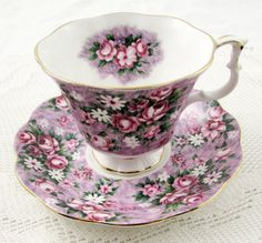 "Royal Albert Garden Party Series ""Gay Day"" Purple Floral Tea Cup and Saucer, Vintage Bone China"