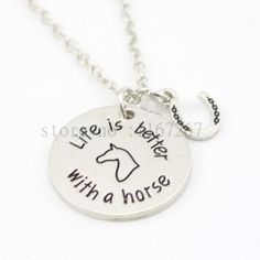 """Pet Loss Jewelry """"life Is Better With A Horse"""" Necklace Horseshoe Pendant Necklace Gifts For Horse Lovers Horse Necklace, Horse Jewelry, Dog Tag Necklace, Horse Gifts, Gifts For Horse Lovers, Necklace Chain Lengths, Cheap Necklaces, Pet Loss, Pendant Necklace"""