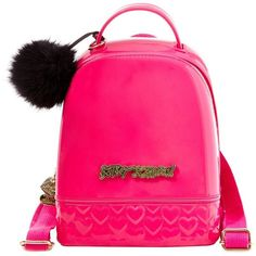 Betsey Johnson Dont BE Jelly Mini Backpack ($78) ❤ liked on Polyvore featuring bags, backpacks, fuchsia, faux-leather backpack, mini rucksack, pink backpack, logo backpacks and glitter backpack