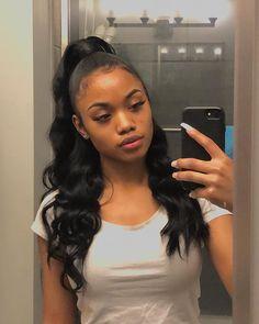 Half up half down quickweave w/ wand curls🥰 Hair: eullair (link in bio) x - - Black Girl Braided Hairstyles, Ponytail Hairstyles, Weave Hairstyles, Straight Hairstyles, Updos, Baddie Hairstyles, Girl Hairstyles, Dinner Hairstyles, Carnival Hairstyles