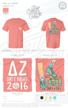 Delta Zeta | DZ | Skates and Dates | Retro Theme Date Night | Throwback Date Dash | Roller Skate Mixer | South by Sea | Greek Tee Shirts | Greek Tank Tops | Custom Apparel Design | Custom Greek Apparel | Sorority Tee Shirts | Sorority Tanks | Sorority Shirt Designs
