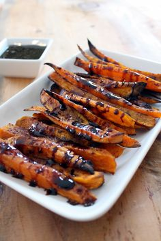 These Sweet Potato Fries with Maple Balsamic Sauce will be a crowd pleaser as a side dish this Thanksgiving or at any holiday.