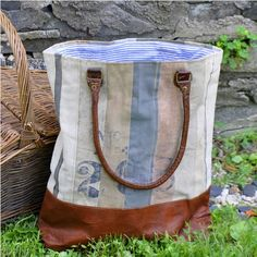 "<p>The Striped Tote by Mona B features varying stripes of colored tarp with leather drop handles and reinforced bottom. 16""W x 17""H x 4""D. This piece is perfectly sized for a bookbag, beach tote, or overnite bag.</p>  <p><span style=""background-color:rgb(249, 247, 243); font-family:arial,helvetica,sans-serif; font-size:12px"">Waste not, is the concept behind these awesome bags from Mona B. Why make new materials when there are interesting and perfectly usable fabrics that can be recycled or…"