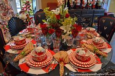 Christmas candy cane theme with Pier 1 Peppermint Placemats and Red Spiral Stemware