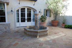 Outdoor stone fountain.  #fountain #stone #limestone #patio #waterfountain