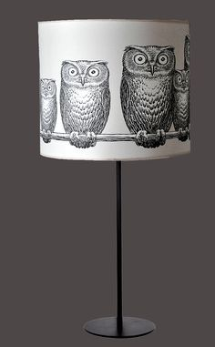 Black Enamel Stem Lamp with Fornasetti Owl Print Linen Shade