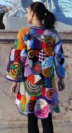 That´s my brandnew amazing design, all handmade! Patchwork, 70`revival! 100% cotton Crochet art. One of a kind. Each piece is unique and will slightly